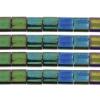 Miyuki Tila Beads 5X5mm 2 Hole Green Malachite Opaque Iris Metallic